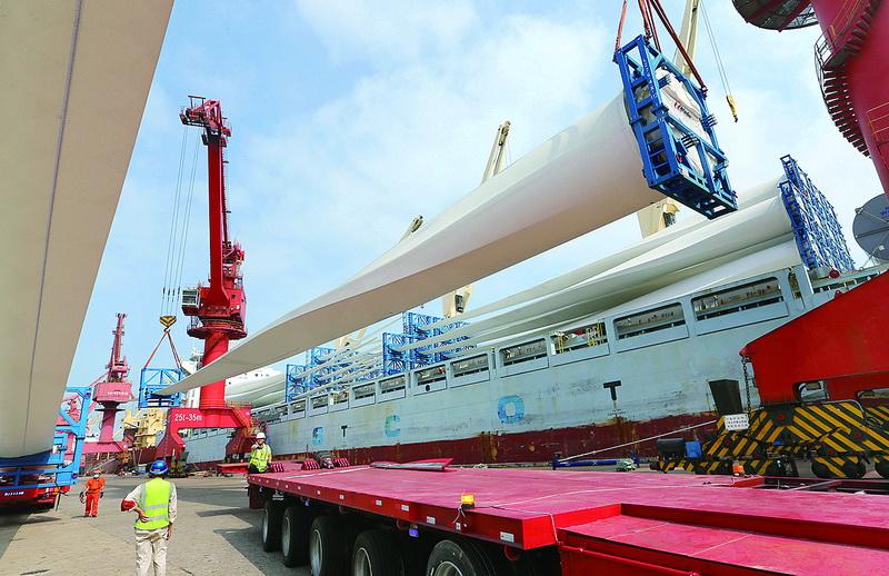 上半年連云港港風電設備出口同比大增