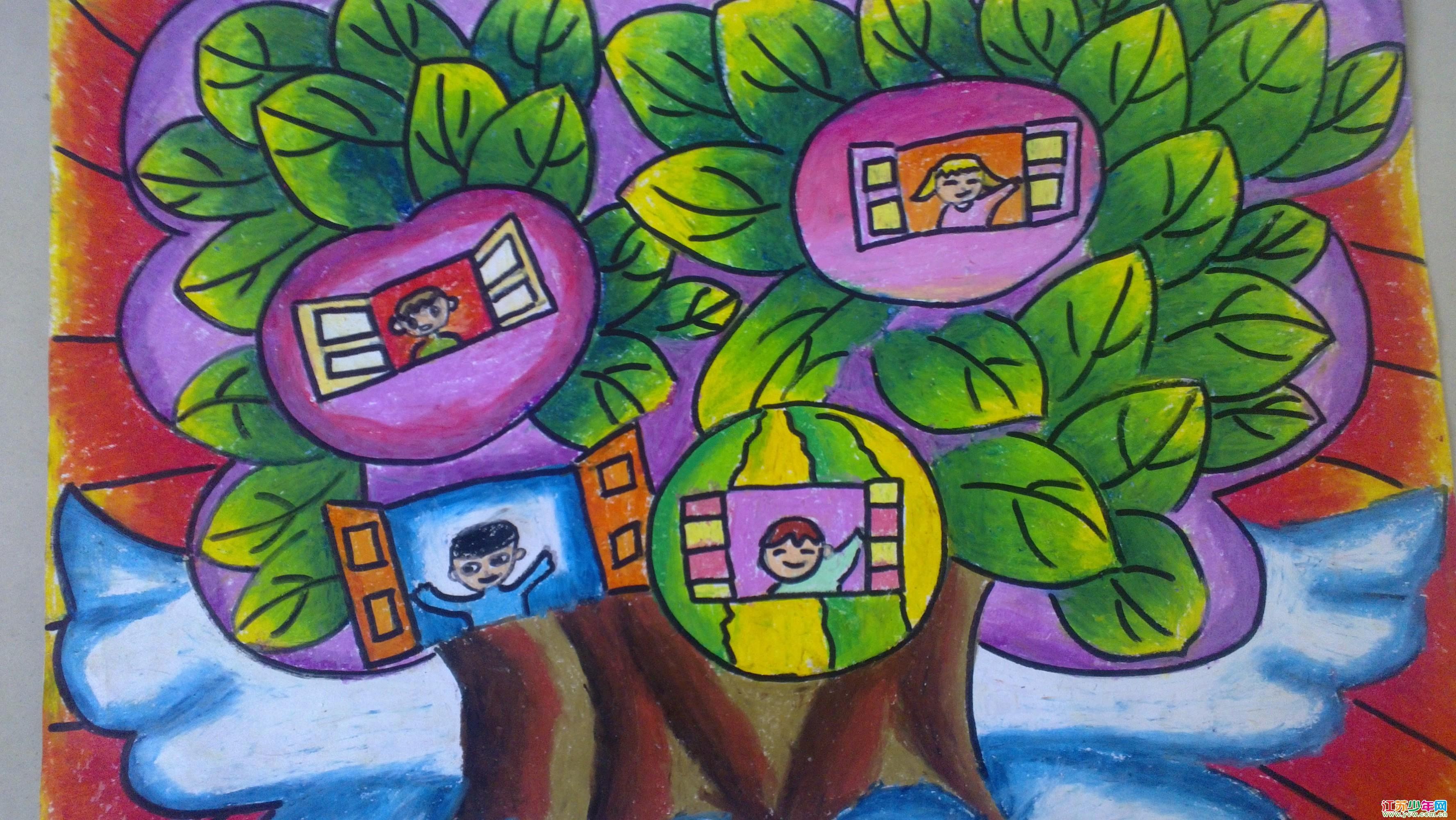 吴亦菲 绘画作品 《树房子》