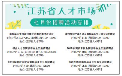 江苏省人才市场七月招聘活动安排